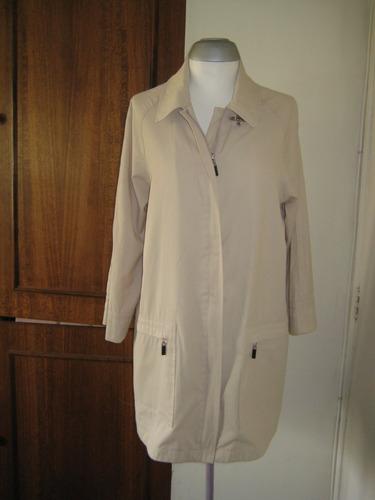 chaqueta gabardina delgada, larga, talla m/l