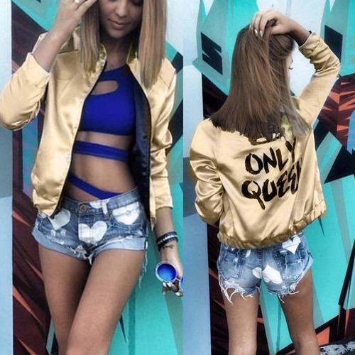 chaqueta gold fashion reina queen casual cierre jacket //