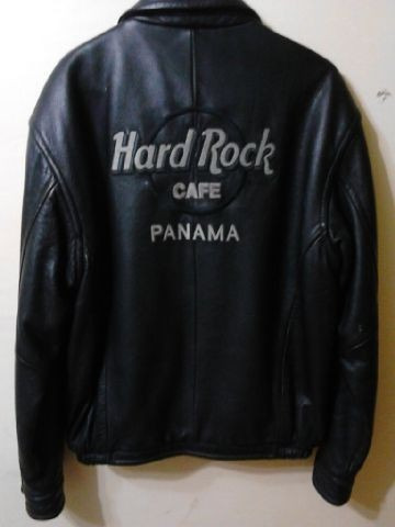 chaqueta hard rock café panamá usada 100% cuero genuino
