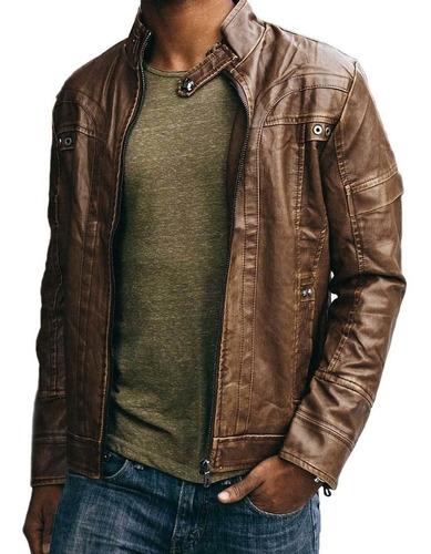chaqueta hombre ajustada cuero pu