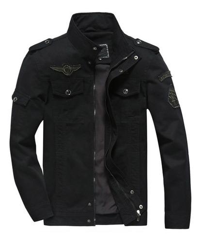 chaqueta hombre militar casual algodon parches 8331 negro
