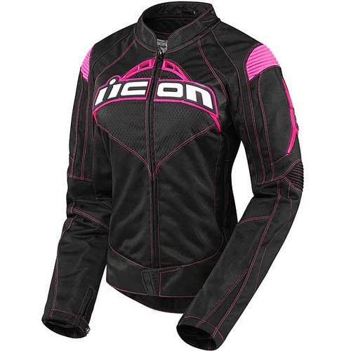 chaqueta icon contra textile negra rosa sm p/mujer