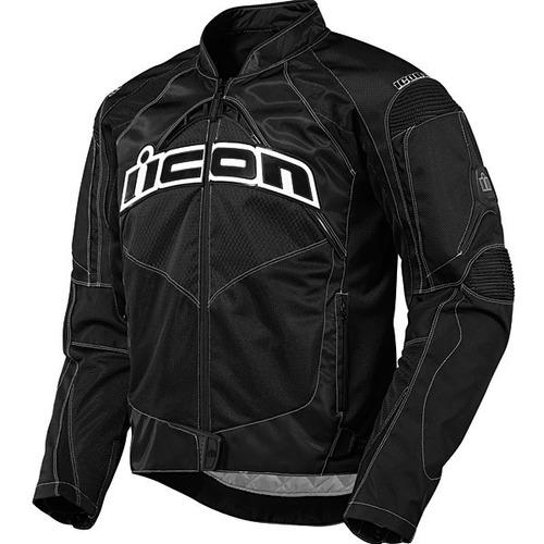 chaqueta icon contra textile negra xl