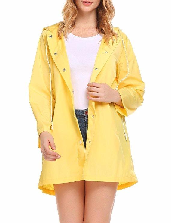 33c49913340 Chaqueta Impermeable De Lluvia Para Mujer Color Amarilla ...