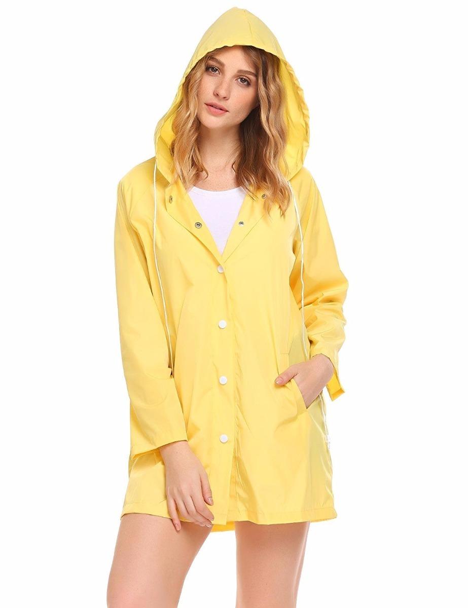 talla 40 34a78 8898d Chaqueta Impermeable De Lluvia Para Mujer Color Amarilla.