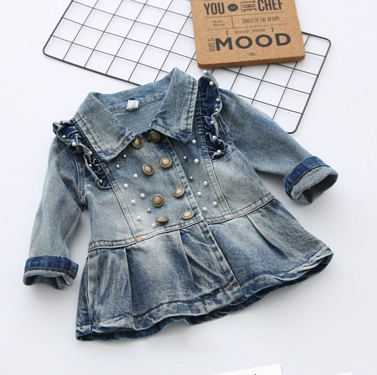 elige auténtico último muy baratas Chaqueta Larga Abrigo Jeans Perlas Ropa Bebés Niñas