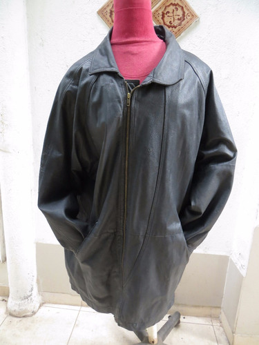 chaqueta larga de cuero para hombre  color negro talla xl