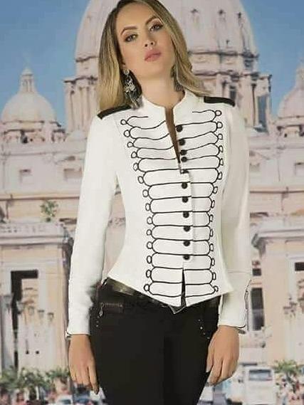 d97f48ce87459 Chaqueta Militar Blanca Mujer Importada Hermosa -   6.500