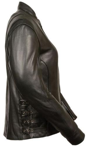 chaqueta milwaukee cuero estilo carrera p/mujer c/hebilla xl