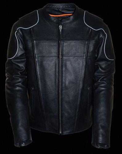 chaqueta milwaukee de cuero c/abertura lateral elástica lg