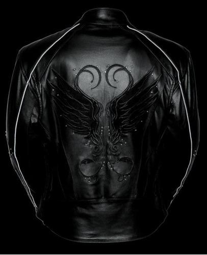 chaqueta milwaukee de cuero negro para mujer 3xl