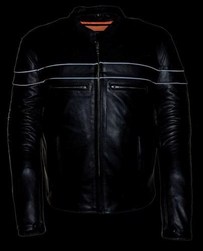chaqueta milwaukee de cuero p/hombre scooter negra 2xl