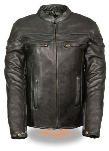 chaqueta milwaukee de cuero p/mujer scooter negra lg