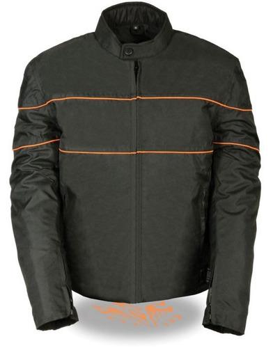 chaqueta milwaukee estilo scooter c/rayas negro p/hombre md