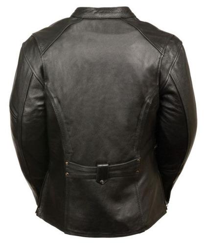 chaqueta milwaukee para mujer de cuero largo 3/4 negra xl