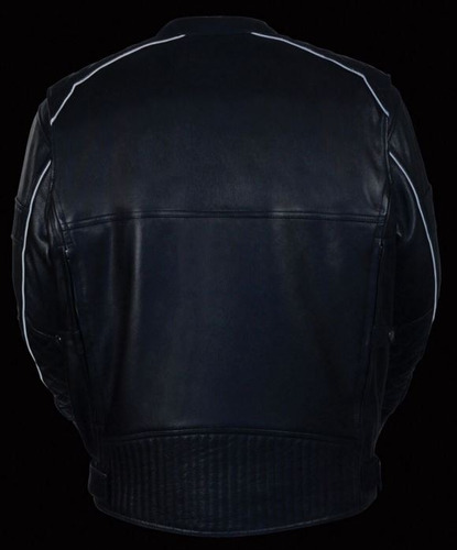 chaqueta milwaukee p/hombre cuero c/patrón acolch. negro lg