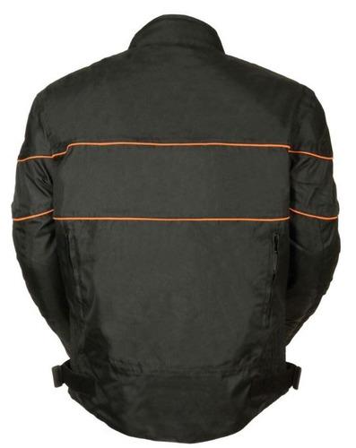 chaqueta milwaukee p/hombre cuero c/tiras naranjas negro 4xl