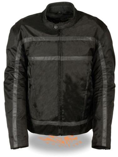 chaqueta milwaukee p/hombre cuero c/tiras reflect. negro 2xl