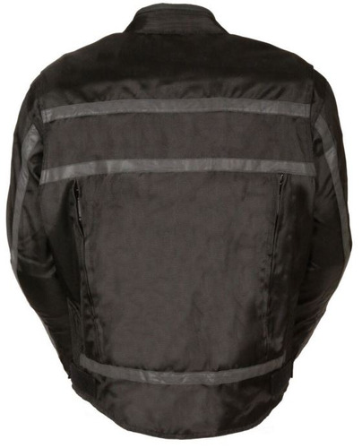 chaqueta milwaukee p/hombre cuero c/tiras reflect. negro sm