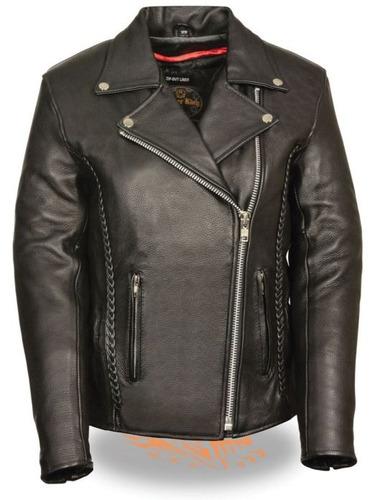 chaqueta milwaukee p/mujer d/cuero c/bordado y detalles 2xl