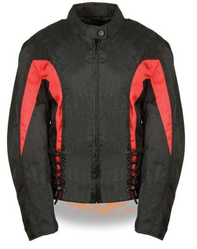 chaqueta milwaukee p/mujer d/cuero c/lazos later. rojo lg