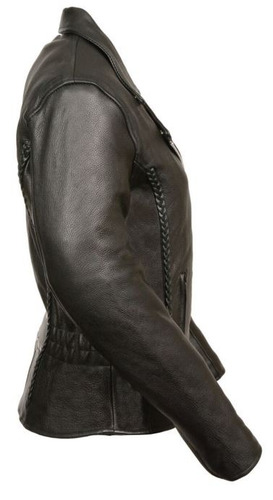 chaqueta milwaukee p/mujer d/cuero con bordado y detalle 3xl