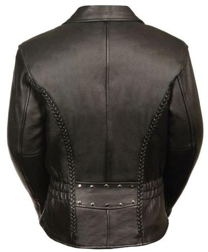 chaqueta milwaukee p/mujer d/cuero con bordado y detalles sm