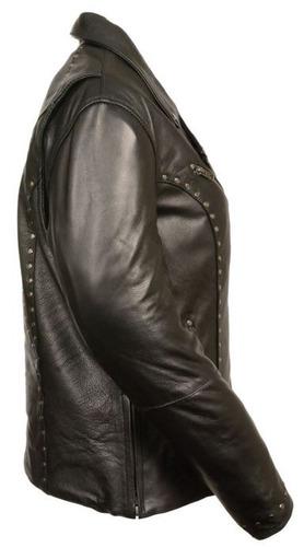 chaqueta milwaukee p/mujer de cuero c/remaches negro 2xl