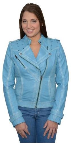chaqueta milwaukee p/mujer de cuero p/moto. c/borch. aqua sm