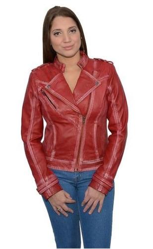 chaqueta milwaukee p/mujer de cuero p/moto c/broch rojo 3xl
