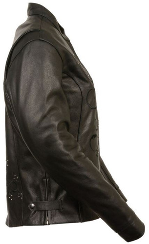 chaqueta milwaukee p/mujer de cuero reflect. negro md