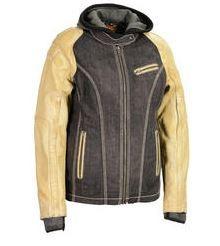 chaqueta milwaukee p/mujer de cuero y dril con capucha xs