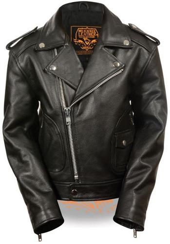 chaqueta milwaukee p/niños cuero c/bolsillo parche negro 3xl