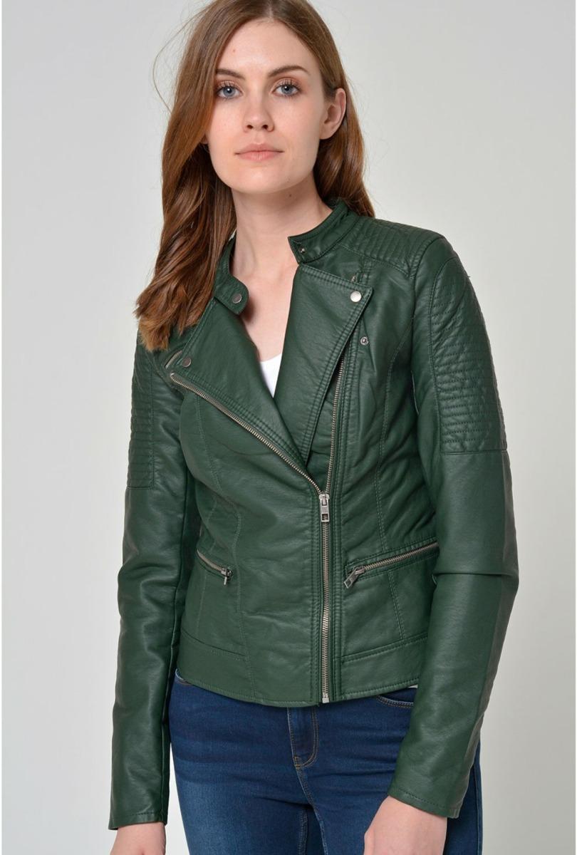 venta caliente barato materiales de alta calidad 100% Calidad Chaqueta Mujer Vero Moda Verde Biker