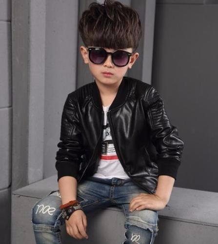 elige mejor los recién llegados colección completa Chaqueta Negra Coreana Fashion Cuero Sintético Pu Niño Boys
