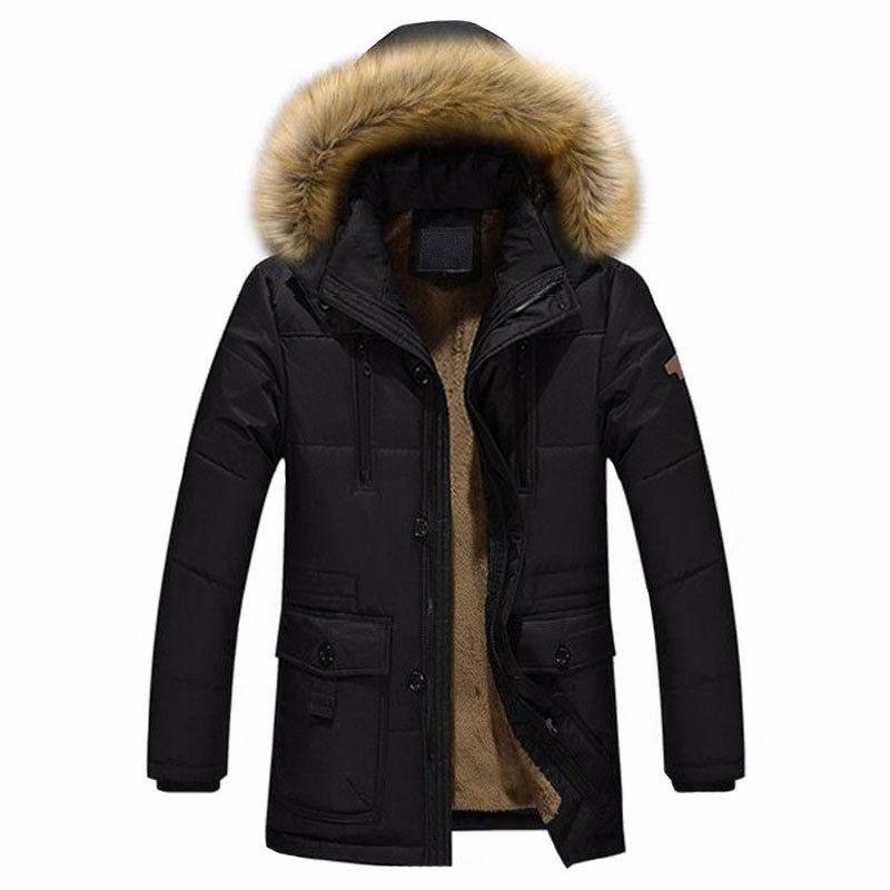Chaqueta Fashion Capucha Negra Hombre Parka Coat Invierno rBrq5w8xT