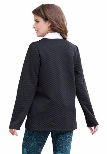 chaqueta negra. manga 3/4. talle especial