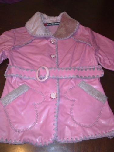 chaqueta niña, cuerina rosada, talla 6