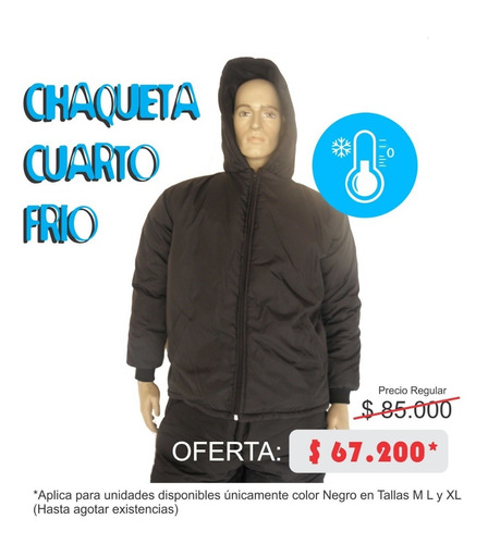 chaqueta para cuarto frio - hasta 0°c - negra