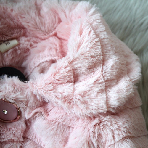 chaqueta peluda tierna fashion pink niña tallas 1 a 9 años /