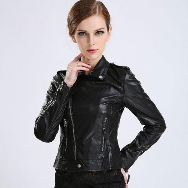 9d9ac0d61a7b Chaqueta Piel Mujer Estilo Casual Moda Entallada Rockera