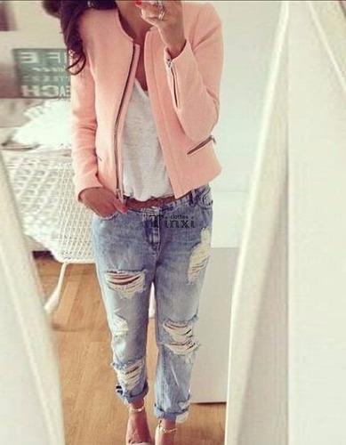 chaqueta pink mujer slim o-neck jacket coat zipper outerwear