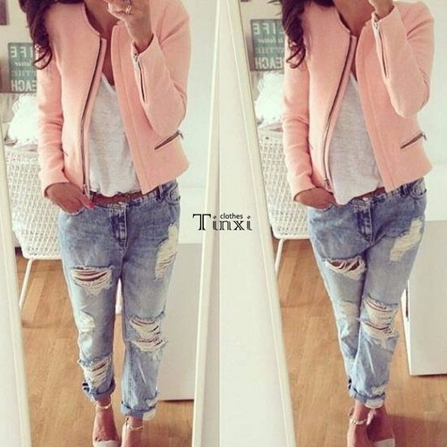 chaqueta pink slim o-neck jacket coat zipper outerwear //