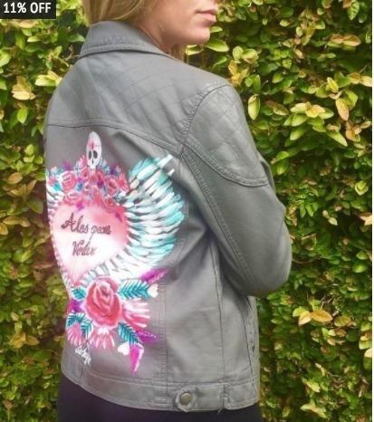 chaqueta pintada a mano por artista unica!!!!!!