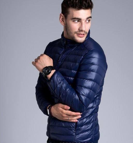 Chaqueta Plumas Hombre Con Bolsa Para Guardar Azul