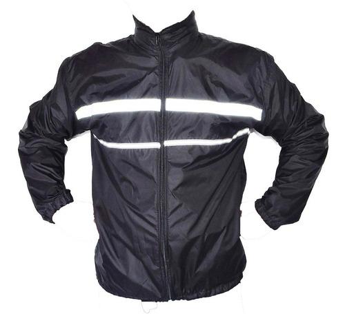 chaqueta rompeviento refletiva moto-ciclista forrada + obs
