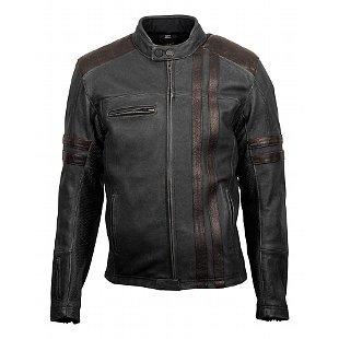 chaqueta scorpion 1909 de cuero negro/marrón sm