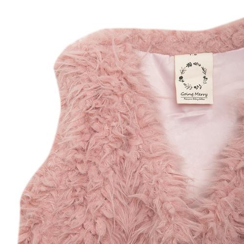 chaqueta sin mangas rosada de niña