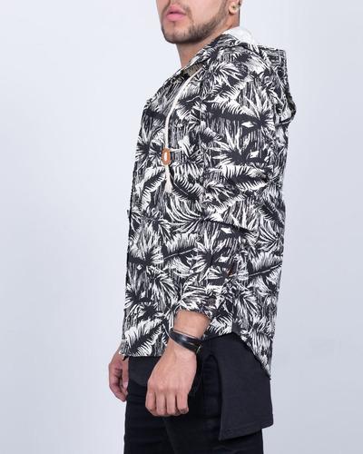 chaqueta synergy palmeras negra h310b