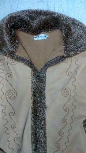 chaqueta termica con peluche, beige talla m dama